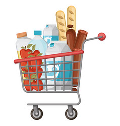 Supermarket shopping cart with foods sausage and vector