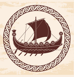Viking ship with oars and shields vector