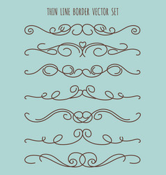 vintage thin line border set vector image vector image