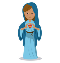 Virgin mary sacred heart devotional image vector