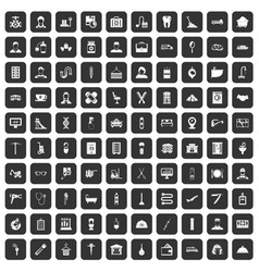 100 craft icons set black vector
