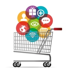 Cart buy shop icons media social design vector