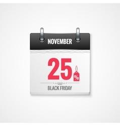 Black Friday sale calendar background vector image