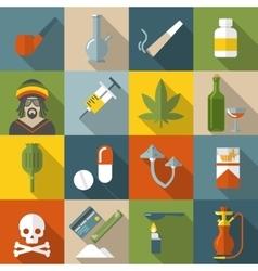 Flat drugs icon set vector