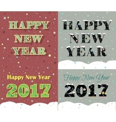 New Year greeting cards Artistic floral font vector image