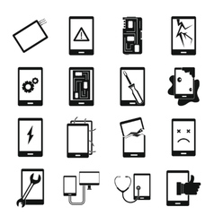 Device repair symbols icons set simple style vector