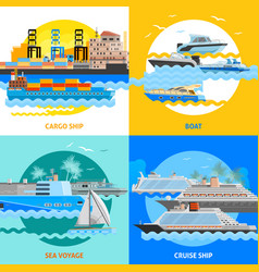 Water transport 2x2 flat design concept set vector