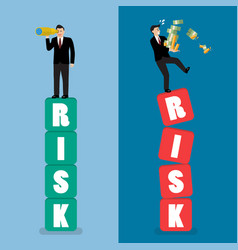 Two businessman standing on risk blocks vector