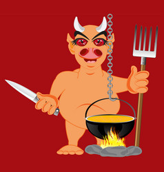 devil in hell vector image