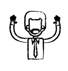 African man male hands up necktie shirt sketch vector
