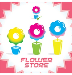 Gradient flower shop icons vector