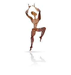 Silhouette of dancing men in ethnic style vector image