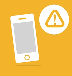 Mobile and warning icon vector