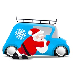 Santa pushing a blue mini car vector