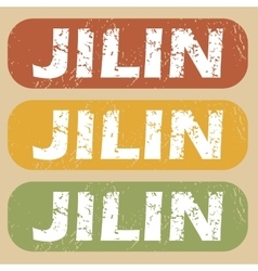 Vintage jilin stamp set vector
