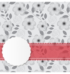 Vintage frame with pink ribbon vector