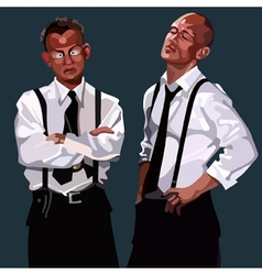 Cartoon two men in white shirts and ties vector