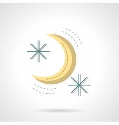 Moon and stars abstract flat color icon vector
