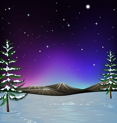 Nature scene with snow on the ground vector