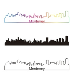 Monterrey skyline linear style with rainbow vector image