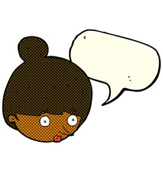 Cartoon surprised womans face with speech bubble vector