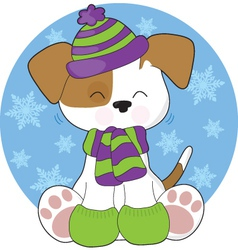 Cute puppy winter vector