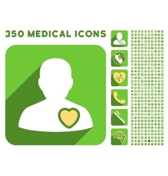 Patient heart icon and medical longshadow icon set vector