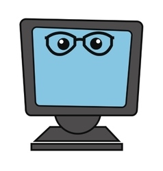 Computer monitor with glasses icon vector
