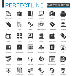 black classic electronic devices icons set vector image
