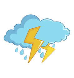 Blue cloud with lightnings and rain icon vector