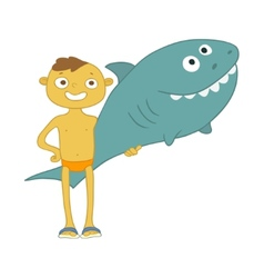 boy with inflatable shark vector image vector image