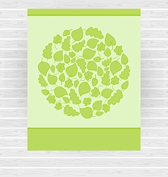 Bright green card made of circle with green leaves vector image