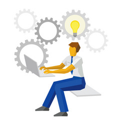 Businessman working on a computer with idea bulb vector