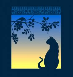 Cat window vector