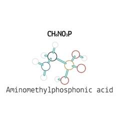 CH6NO3P Aminomethylphosphonic acid molecule vector image vector image