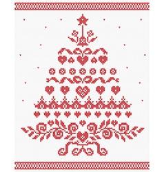Christmas ukrainian ornament red tree seaml vector