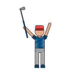 color pencil cartoon faceless full body golfer man vector image vector image
