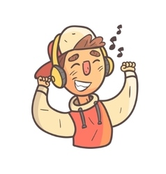 Dancing boy in cap and college jacket hand drawn vector