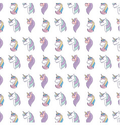 drawing cute set unicorns icon vector image vector image