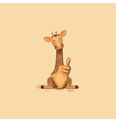 Emoji character cartoon Giraffe approves with vector image vector image