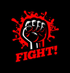 Fight clenched raised fist hand gesture blood vector