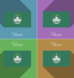 Flags Macau Set of colors flat design and long vector image vector image
