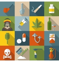 Flat drugs icon set vector