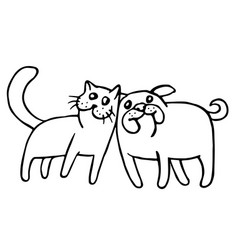 Funny cat and dog isolated vector