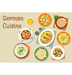 German cuisine icon with bavarian dishes vector