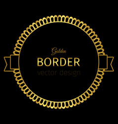 Golden circle label with lacy border vector