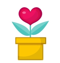 Heart flower pot icon flat design isolated on vector