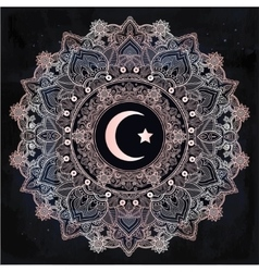 Islamic crescent moon in ornate background vector