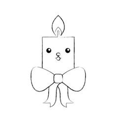 kawaii candle christmas flower decoration festive vector image