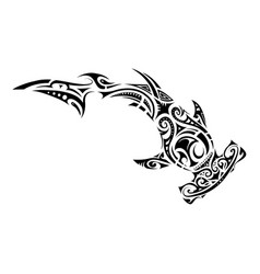Maori style hammer shark tattoo vector